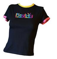 T-shirt Maglietta Donna Ragazza Aderente Corta Logo Nero Stretch PLAYBOY Tg S  M