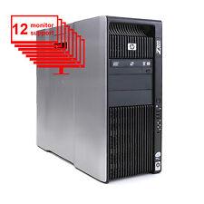 HP Z800 Multi Screen 12-Monitor Computer 2x Xeon x5570 8Core 12GB 1TB Win 10 Pro