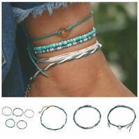 5Pcs/Set Women Boho Turquoise Bead Anklets Layer Anklet Leg Bracelet Jewelry
