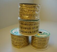 """Gold Lace Wired Ribbon Fancy Christmas Wrap Stats 2 3/4"""" 10 yds 4-Spool Lot"""