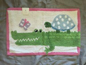 Pottery Barn Kids Aligator shower curtain Bath bath mat rug 20x32 green pink 2pc