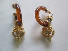 AVON VINTAGE*PIERCED EARRINGS W/SURGICAL STEEL POST*BROWN AND GOLDTONE*NEW*1991