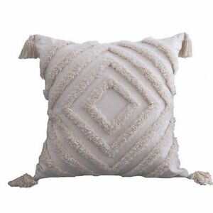 Morocco Tufted Throw Pillow Case with Tassels Farmhouse Cushion Sofa Covers
