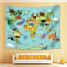 Animal World Map Tapestry Wall Hanging for Living Room Bedroom Dorm Decor
