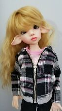 New listing Pink black plaid 5 pc outfit Hoody jeansTee Shoes Socks Kaye Wiggs Msd Bjd Doll