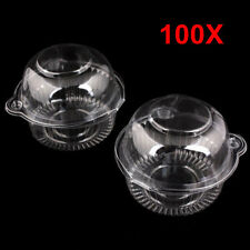 Lots 100pcs Clear Plastic Single Cupcake Muffin Case Pod Domes Cup Cake Boxes