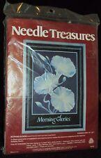 Needle Treasures Morning Glories Floral Needlepoint Kit 100% wool