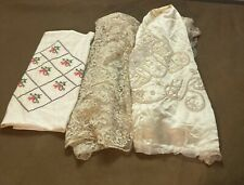New listing 3 Rare 1916 Vintage Antique Wedding Lace Satin Beaded Train Material Embroidered