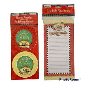 Mary Engelbreit Christmas Festive Cup of Kindness Magnetic Frame Set & List Pad