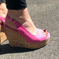 Womens MOCHA & PINK SUEDETTE PEEPTOE SLINGBACK Sandals Wedge New UK Size 3-8