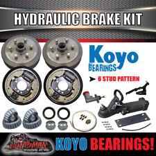 """6 Stud 9"""" Hydraulic Drum Trailer Brake, Coupling & Fitting Kit. koyo Bearings."""
