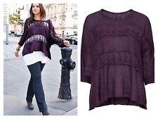 Sheego @ Kaleidoscope Sz 14 16 Dark Purple Oversized Lace Insert JUMPER Top £75