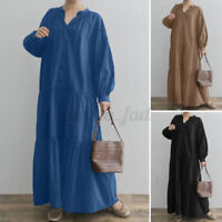 UK Women V Neck Button Up Casual Loose Solid Kaftan Baggy Tiered Long Maxi Dress
