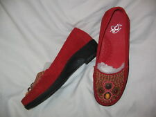"GRAVITY DEFYER SIZE 6.5 M, RED SUEDE LOAFER SHOES, STYLE NAME ""ROMI""  NIB"
