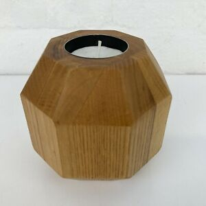 Attractive Solid Wood Geometric Wooden Tea Light Candle Holder Natural Table Top