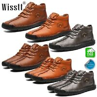Men's Hand Stitching Lace Up Ankle Leather Casual Shoes Antiskid Driving Boots