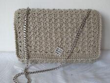 Women Handbag Wedding Party Prom Shoulder Clutch Beige With Cubic Zirconia Bag