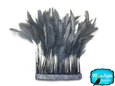 1 Yard - GREY Stripped Coque Tail Feathers Wholesale (bulk)
