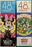 Disney MICKEY MOUSE AND FRIENDS & MINNIE MOUSE 48 Piece Jigsaw Puzzles Set/2-NEW
