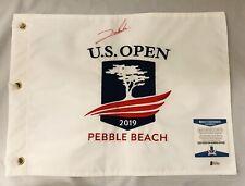 JON RAHM SIGNED 2019 US OPEN PIN FLAG PEBBLE BEACH AUTO+BECKETT COA!