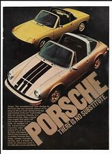 """Gold 1974 Porsche 914 """"There Is No Substitute."""" 911 Targa Roof Roll Bar Print Ad"""