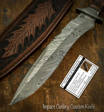 IMPACT CUTLERY RARE CUSTOM DAMASCUS BOWIE KNIFE CAMEL BONE HANDLE