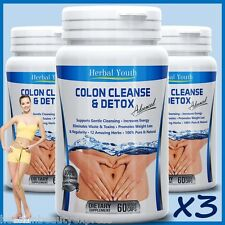 180 x COLON CLEANSE CAPSULES 2000mg DAILY WEIGHT LOSS DIET DETOX SLIMMING PILLS