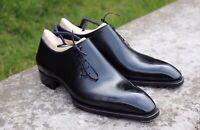 Elegant Handmade Men's Oxford Leather Black Lace Up Shoes, Trendy Fashion Shoes