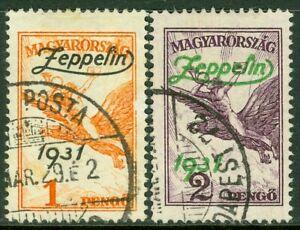 EDW1949SELL : HUNGARY 1931 Sc #C24-25 Zeppelins. Cplt set. VF, Used. Cat