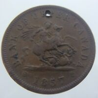 1857 Bank of Upper Canada Half Penny Holed Token Circulated Medal Struck U725