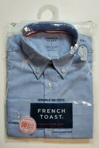French Toast School Uniform Boys Button Down LS Oxford Dress Shirt Lt Blue 7 NWT