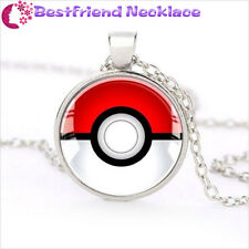 Silver Anime Pokemon Pokeball Jewelry Glass Dome Pendant Necklace#T1