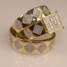 14K Yellow Gold Finish Round Diamond 2.30 CT Engagement & Wedding Trio Ring Set