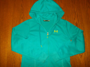 UNDER ARMOUR FULL ZIP AQUA BLUE HOODED SWEATSHIRT JACKET WOMENS SMALL EXCELLENT