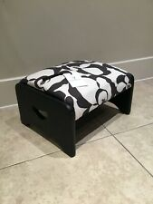 Upcycled Black & White Wooden Footstool