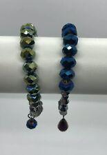 Metallic Tones Beaded Bracelet Set X2 Boho Festival Lagenlook Evening Sparkle