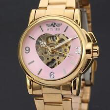 Women's Automatic Mechanical Dress Watch Luxury Ladies Gold Steel Heart Skeleton