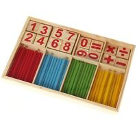 Wooden Montessori Mathematics Number Early Learning Counting Sticks Kids Toy MH
