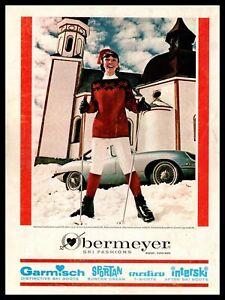 1964 Obermeyer Ski Fashions Aspen Colorado Jaguar XKE Sportscar Vintage Print Ad