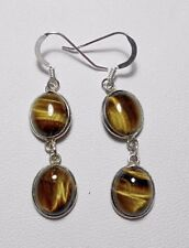 925 Sterling silver earrings, Tiger's Eye cabochons