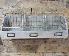 Industrial Metal & Wood Storage Unit Vintage Style Floating Wall Shelving Basket