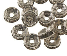 50stk Glas Strasssteine Rondell 6mm Spacer Metallperlen Schmuck BEST R172B