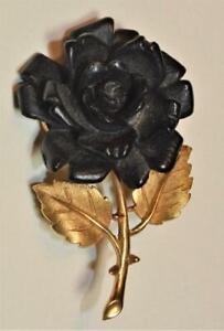 Vintage Firmato Trifari Crown Color Oro Nero Intagliato Rosa Forma Spilla