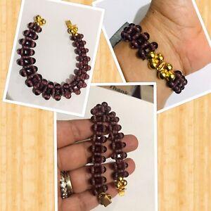 "Vintage amethyst glass beads bracelet 7.5"""