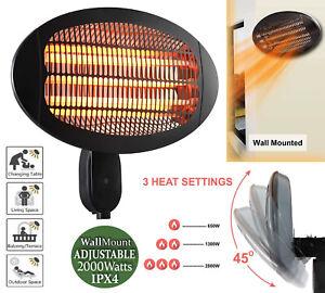 2KW Electric Patio Heater Quartz Garden Free Standing Outdoor 2000W Waterproof