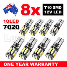 8X Cool White T10 7020 SMD 10LED W5W Wedge Side Car Lights Turn Parking Bulb AU