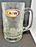 A&W Root Beer Mug Classic Orange and Brown Logo Heavy Glass Vintage 1968