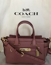 COACH 87295 Swagger 27 Pebble Leather LI/Rose Handbag Satchel Purse NWT