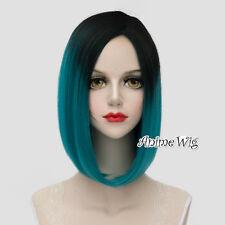 Lolita Black Mixed Turquoise Green Medium 40CM Fashion Women Cosplay Full Wig