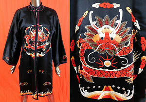 Vintage Antique Chinese Red Dragon Embroidered Roundels Black Silk Winter Robe